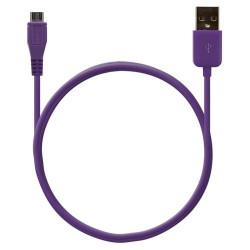 Câble data usb charge 2en1 couleur Violet pour BlackBerry : Bold 9700 / Bold 9780 / Bold 9790 / Bold 9900 / Curve 3G 9300 / Cur