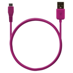 Câble data usb charge 2en1 couleur Rose fuschia pour Sony Xperia S