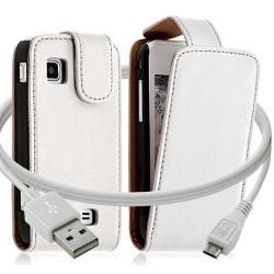 Housse coque etui + Câble data USB pour Samsung Wave575 couleur blanc