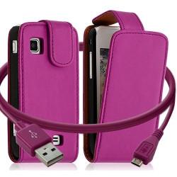 Housse coque etui + Câble data USB pour Samsung Wave575 couleur rose fushia