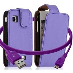 Housse coque etui + Câble data USB pour Samsung Wave575 couleur violet