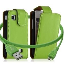 Housse coque etui + Câble data USB pour Samsung Wave575 couleur vert