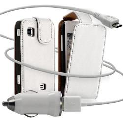 Housse coque etui + Chargeur Auto USB pour Samsung Wave575 couleur blanc