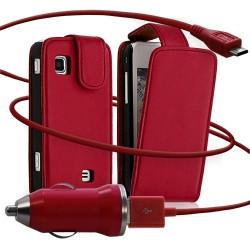 Housse coque etui + Chargeur Auto USB pour Samsung Wave575 couleur rouge
