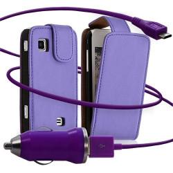 Housse coque etui + Chargeur Auto USB pour Samsung Wave575 couleur violet