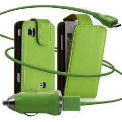 Housse coque etui + Chargeur Auto USB pour Samsung Wave575 couleur vert