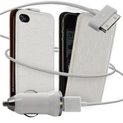 Housse coque étui motif carré + Chargeur Auto pour Apple iPhone 4 / 4S couleur blanc