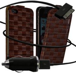 Housse coque étui motif carré + Chargeur Auto pour Apple iPhone 4 / 4S couleur marron