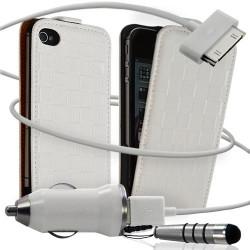 Housse coque étui motif carré + Chargeur Auto + stylet pour Apple iPhone 4 / 4S couleur blanc