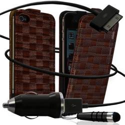 Housse coque étui motif carré + Chargeur Auto + stylet pour Apple iPhone 4 / 4S couleur marron