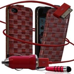 Housse coque étui motif carré + Chargeur Auto + stylet pour Apple iPhone 4 / 4S couleur rouge
