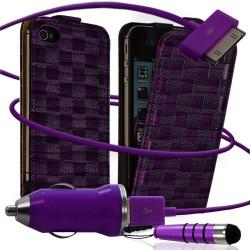Housse coque étui motif carré + Chargeur Auto + stylet pour Apple iPhone 4 / 4S couleur violet