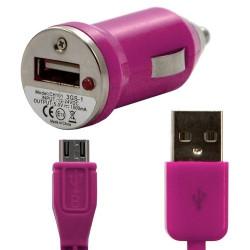 Chargeur voiture allume cigare USB avec câble data couleur fuschia pour LG : Optimus Chat C550 / Optimus L5 E610 / Optimus Me P