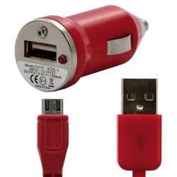 Chargeur voiture allume cigare USB avec câble data couleur rouge pour LG : Optimus Chat C550 / Optimus L5 E610 / Optimus Me P35