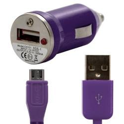 Chargeur voiture allume cigare USB avec câble data couleur violet pour LG : Optimus Chat C550 / Optimus L5 E610 / Optimus Me P3