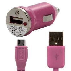 Chargeur voiture allume cigare USB avec câble data couleur rose pour Sony : Xperia S / Xperia P / Xperia U / Xperia acro S / Xp