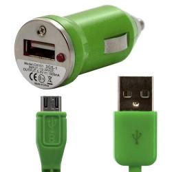 Chargeur voiture allume cigare USB avec câble data couleur vert pour Sony : Xperia S / Xperia P / Xperia U / Xperia acro S / Xp