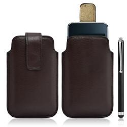 Housse coque étui pochette marron pour Apple Ipod Touch 1G/2G/3G + Stylet