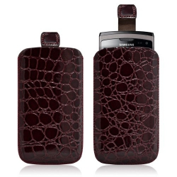 Housse coque étui pochette style croco pour Samsung Wave 2 S8530