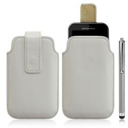 Housse coque étui pochette blanc pour Motorola Defy + Stylet