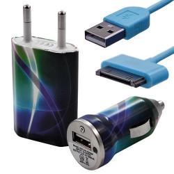 Mini Chargeur 3en1 Auto et Secteur USB avec câble data avec motif CV03 pour Apple : iPod 2 / iPod 4G / iPod 5G / iPod Photo / i