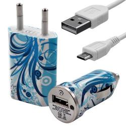 Mini Chargeur 3en1 Auto et Secteur USB avec câble data avec motif HF08 pour Sony : Xperia J / Xperia P / Xperia S / Xperia T /