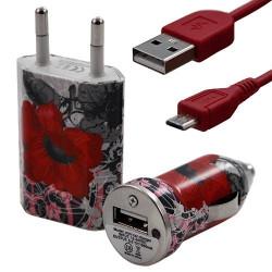 Mini Chargeur 3en1 Auto et Secteur USB avec câble data avec motif CV01 pour Sony : Xperia J / Xperia P / Xperia S / Xperia T /