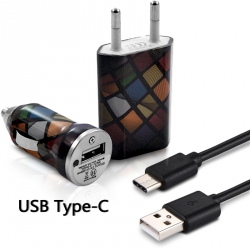 Chargeur Secteur Voiture Câble USB Type C pour Asus Zenfone 3