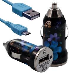 Chargeur voiture allume cigare USB avec câble data avec motif HF16 pour Sony : Xperia J / Xperia P / Xperia S / Xperia T / Xper