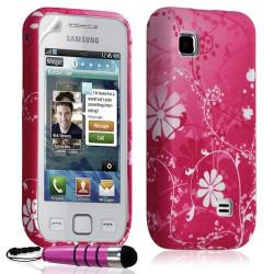 Housse coque étui en gel pour Samsung Wave 575 S5750 avec motif HF02 + Mini stylet