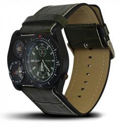 Montre Homme, Bracelet Cuir, 3 Cadrants - Bracelet Kaki, Cadrant Kaki [MH01]H