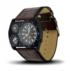 Montre Homme, Bracelet Cuir, 3 Cadrants - Bracelet marron, Cadrant Noir [MH03]