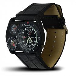Montre Homme, Bracelet Cuir, 3 Cadrants - Bracelet Noir, Cadrant Noir [MH02]
