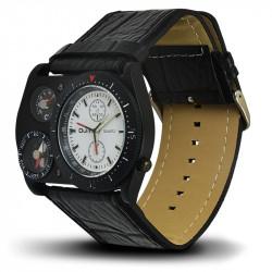 Montre Homme, Bracelet Cuir, 3 Cadrants - Bracelet Noir, Cadrant Noir et Blanc [MH04]