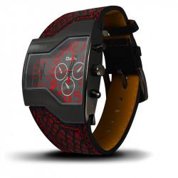 Montre Homme, Bracelet en Cuir Véritable couleur Rouge, double Cadrant rouge et gris [MH05]