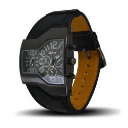 Montre Homme, Bracelet en Cuir Véritable Noir, double Cadrant Noir [MH06]