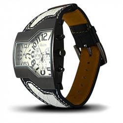 Montre Homme, Bracelet Cuir Véritable Noir et Blanc, Cadrant Noir et Blanc [MH08]