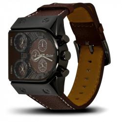 Montre Homme, Bracelet Cuir, 3 Cadrants - Bracelet Marron, Cadrant marron