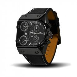 Montre Homme, Bracelet Cuir, 3 Cadrants - Bracelet Noir, Cadrant noir