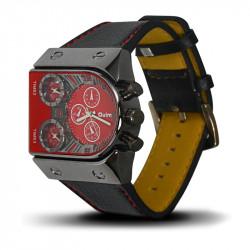 Montre Homme, Bracelet Cuir, 3 Cadrants - Bracelet Noir, Cadrant Rouge