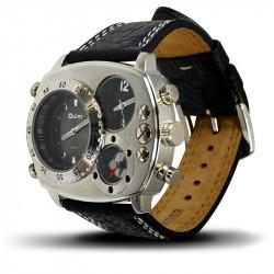 Montre Homme, Bracelet Cuir, 3 Cadrants Boussole et Thermomètre - Noir