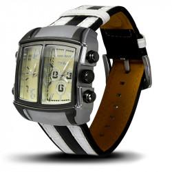 Montre Homme, Bracelet Cuir, 2 Cadrants - Bracelet Noir et Blanc, Cadrant Beige