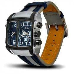 Montre Homme, Bracelet Cuir, 2 Cadrants - Bracelet Bleu et Blanc, Cadrant Bleu