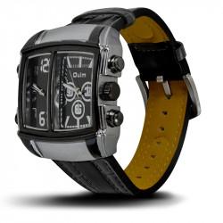 Montre Homme, Bracelet Cuir, 2 Cadrants - Bracelet Noir, Cadrant Noir