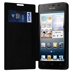 Etui à rabat latéral et porte-carte Noir pour Huawei Ascend G510 + Film de Protection