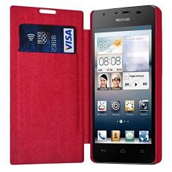 Etui à rabat latéral et porte-carte Rose Fushia pour Huawei Ascend G510 + Film de Protection