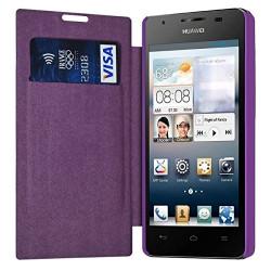 Etui à rabat latéral et porte-carte Violet pour Huawei Ascend G510 + Film de Protection