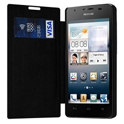 Etui à rabat latéral et porte-carte Noir pour Huawei Ascend G525 + Film de Protection