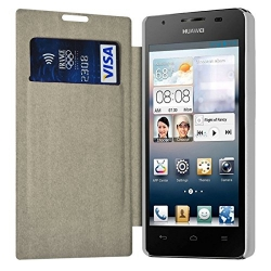 Etui à rabat latéral et porte-carte Blanc pour Huawei Ascend G525 + Film de Protection