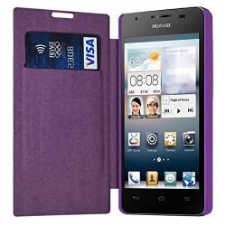 Etui à rabat latéral et porte-carte Violet pour Huawei Ascend G525 + Film de Protection